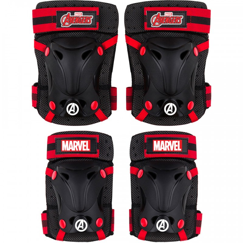 Set protectie Skate Cotiere Genunchiere si Incheieturi Avengers Seven, 3 - 7 ani, Rosu/Negru