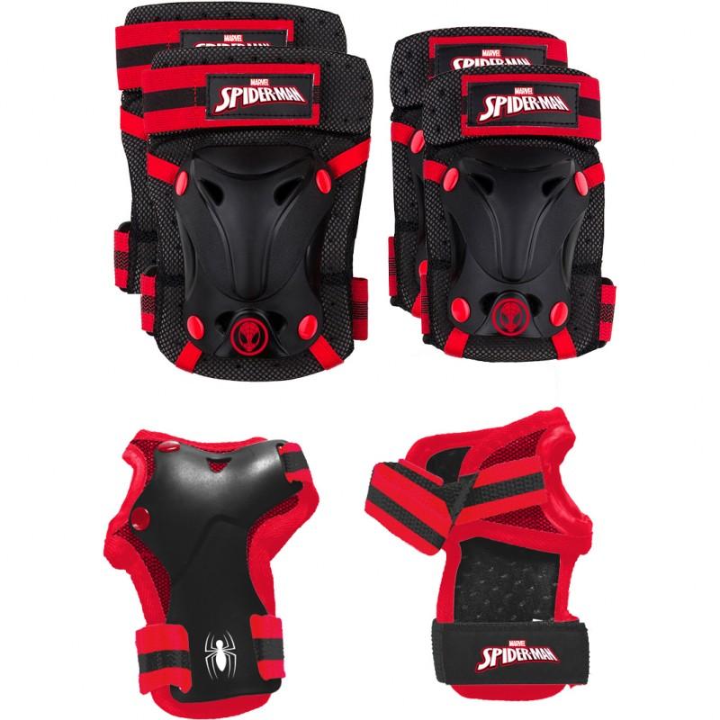 Set protectie Skate Cotiere Genunchiere si Incheieturi Spiderman Seven, 3 - 7 ani, Rosu/Negru