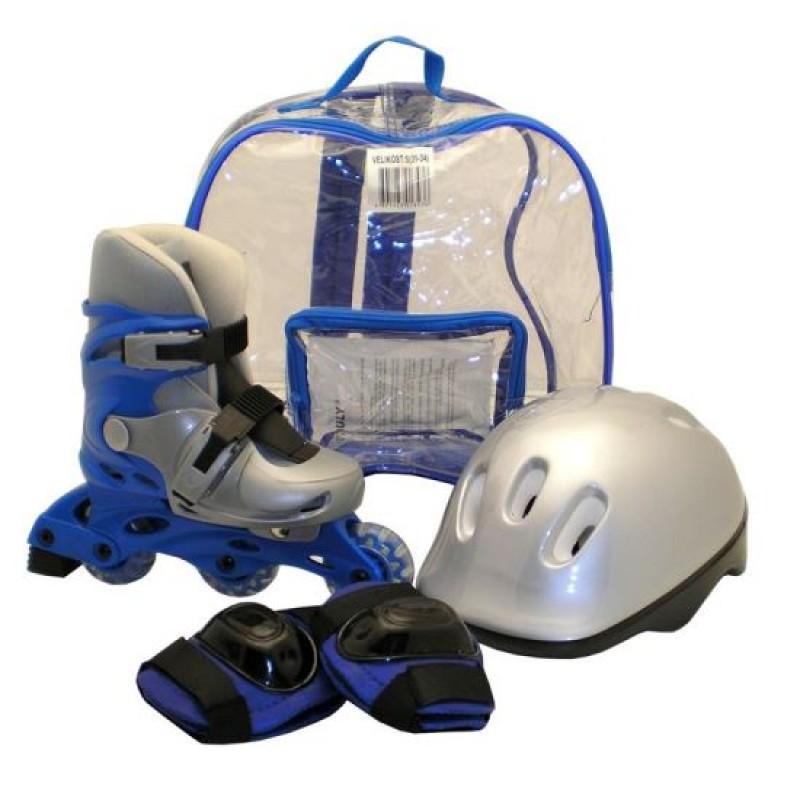 Set role pentru copii DHS, marimea M, 35-38, PVC, echipament de protectie inclus, Albastru/Argintiu 2021 shopu.ro