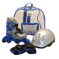 Set role pentru copii DHS, marimea S, 31-34, PVC, echipament de protectie inclus, Albastru/Argintiu