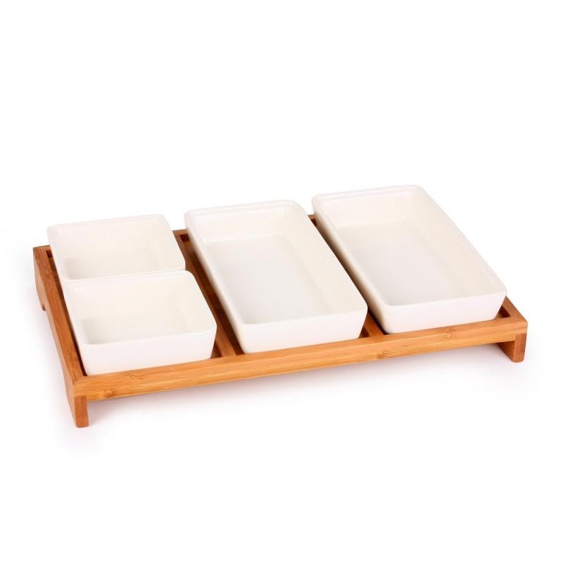 Set servire sosuri/aperitive Zokura, platou lemn, boluri ceramice, 5 piese 2021 shopu.ro