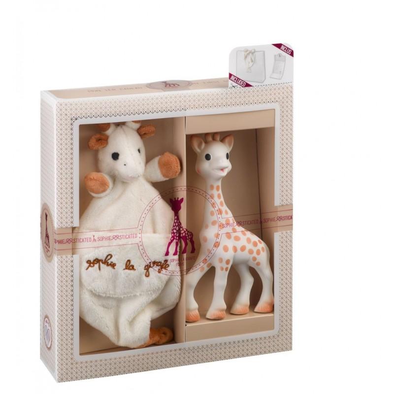 Set dentitie girafa Sophie Vulli, 17 cm, cauciuc, batistuta inclusa, 0 luni+ 2021 shopu.ro