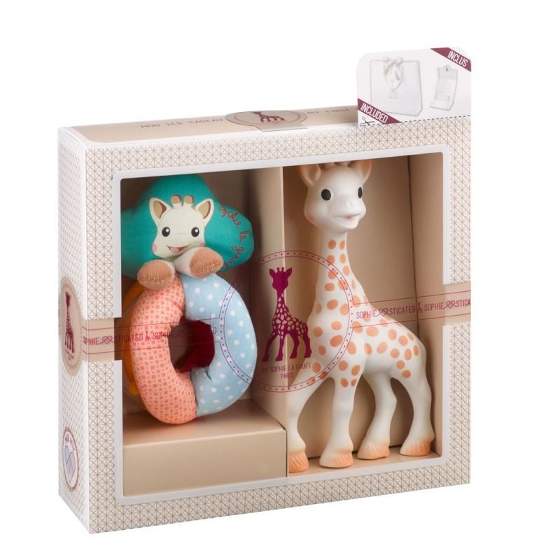 Set jucarie zornaitoare girafa Sophie Vulli, plastic, bilute colorate, 17 cm, 0 luni+, Multicolor 2021 shopu.ro