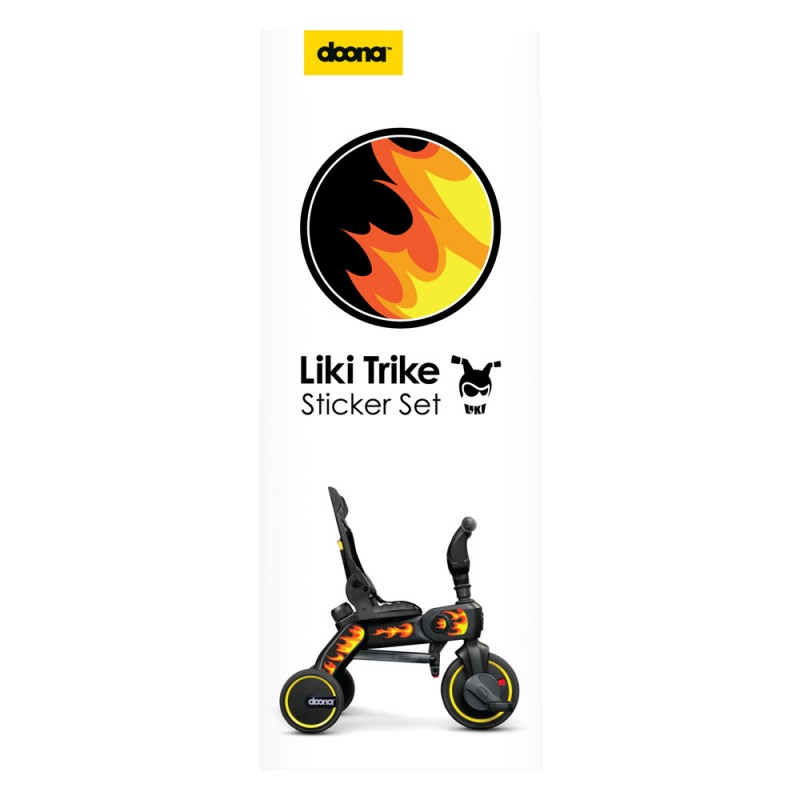 Set abtibilduri pentru tricicleta Liki Trike Doona, 8 bucati, model flacari 2021 shopu.ro
