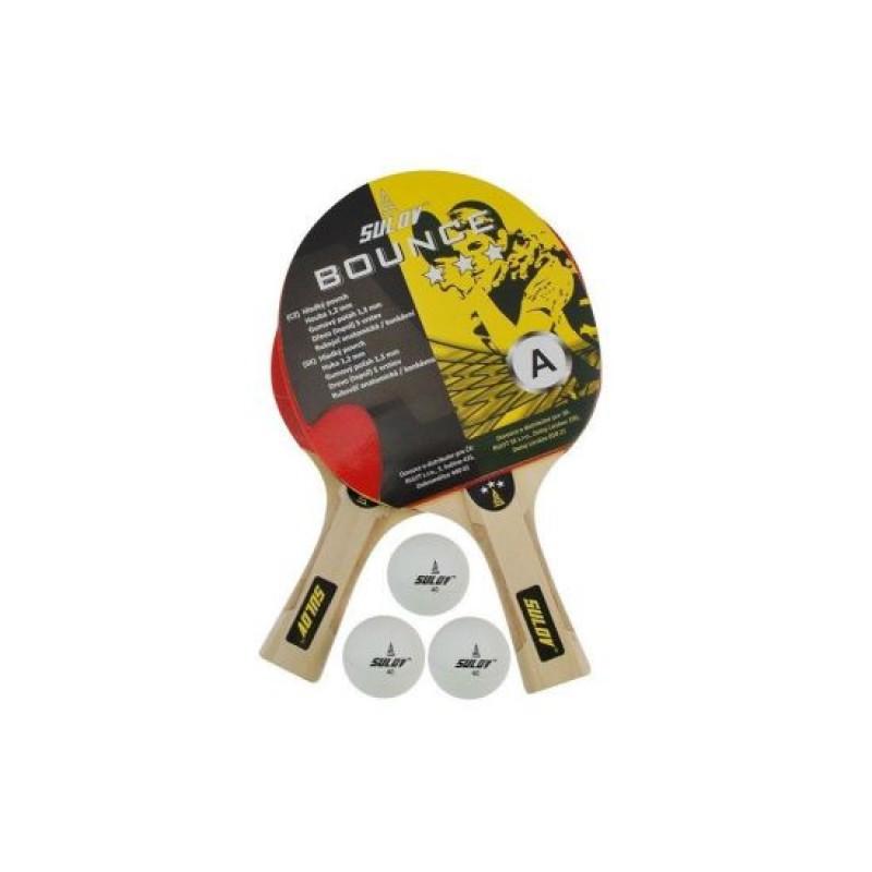 Set palete tenis de masa 3ST DHS, 5 straturi lemn, 3 mingi incluse, duritate medie 2021 shopu.ro