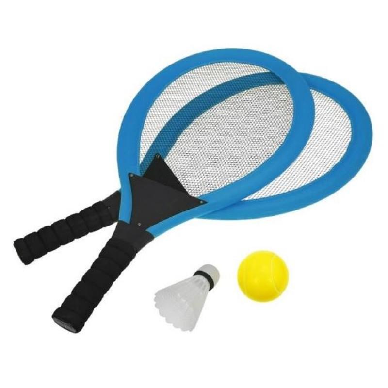 Set palete tenis de plaja DHS, minge, fluturas incluse, Albastru 2021 shopu.ro