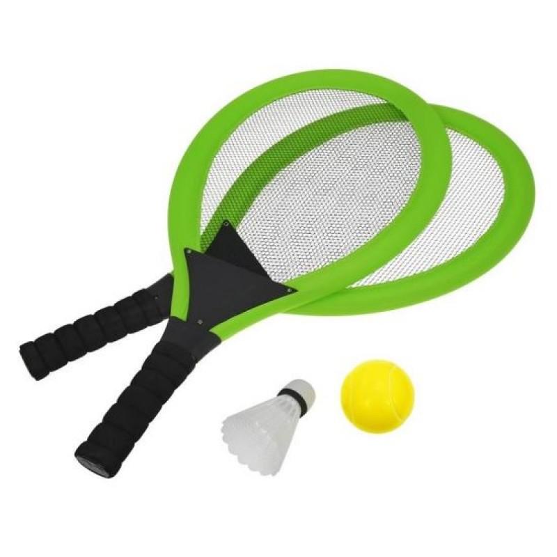 Set palete tenis de plaja DHS, minge, fluturas incluse, Verde 2021 shopu.ro