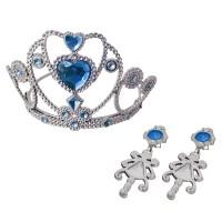 Set tiara/cercei Eddy Toys, plastic, 3 ani+, Argintiu/Albastru