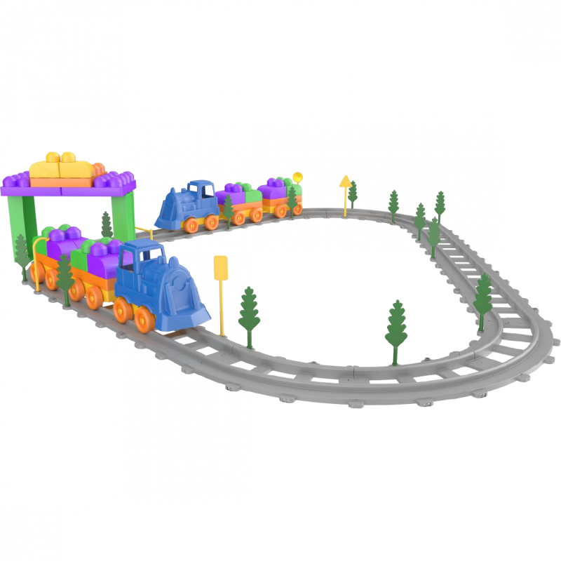 Set Tren Magic Blocks Ucar Toys, 93 piese 2021 shopu.ro
