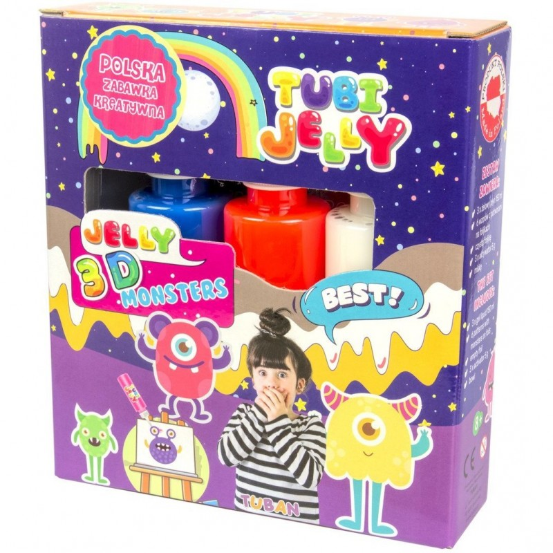 Set Tubi Jelly Monstri Tuban, 3 culori, 450 ml, 8 ani+, Multicolor 2021 shopu.ro