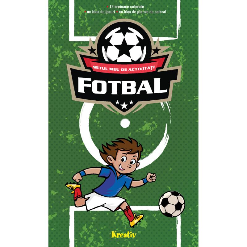 Set de activitati Fotbal Editura Kreativ, 60 pagini, 12 creioane, 3-10 ani 2021 shopu.ro