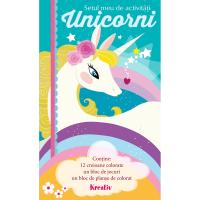 Set de activitati Unicorni Editura Kreativ, 60 pagini, 12 creioane, 3-10 ani