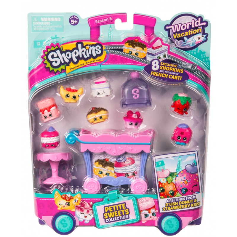 Set 8 figurine Shopkins Pink, mini dulciuri asortate si carucior, 5 ani+