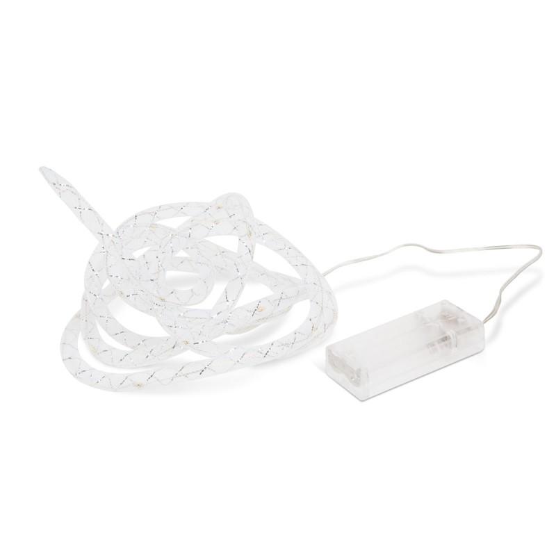 Sir LED-uri pentru pom Globiz, 2 x AA, 2 m, fir argintiu, lumina alb cald shopu.ro
