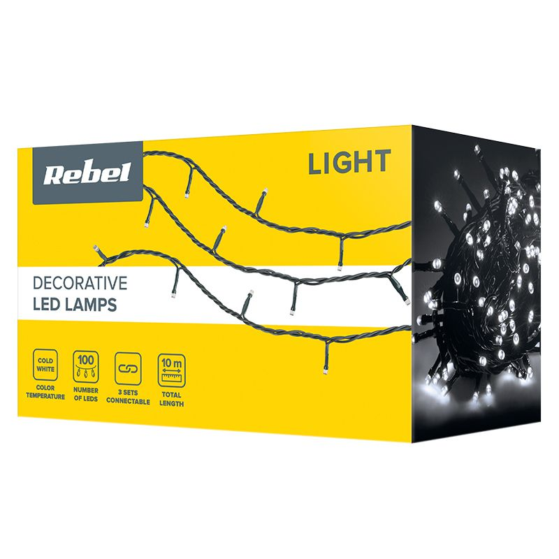 Sir iluminat festiv Rebel, 10 m, 100 x LED, IP44, lumina alb rece