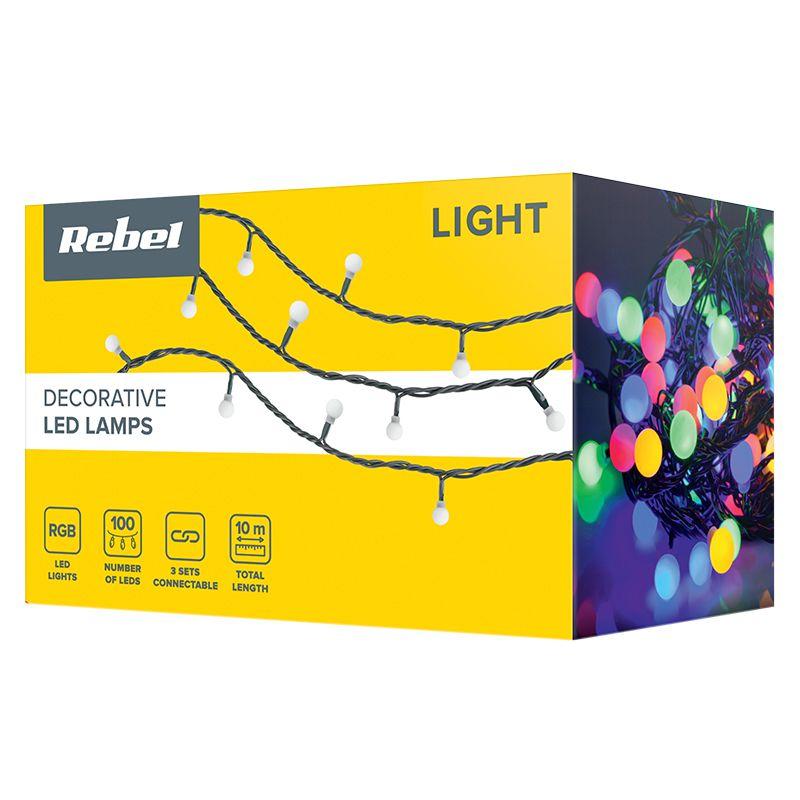 Sir iluminat festiv Rebel, 10 m, 100 x LED, IP44, RGB