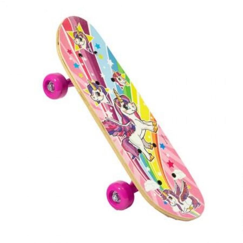 Skateboard pentru fetite Tobar, 43 x 13 cm, lemn, 5 ani+, model unicorn, Multicolor
