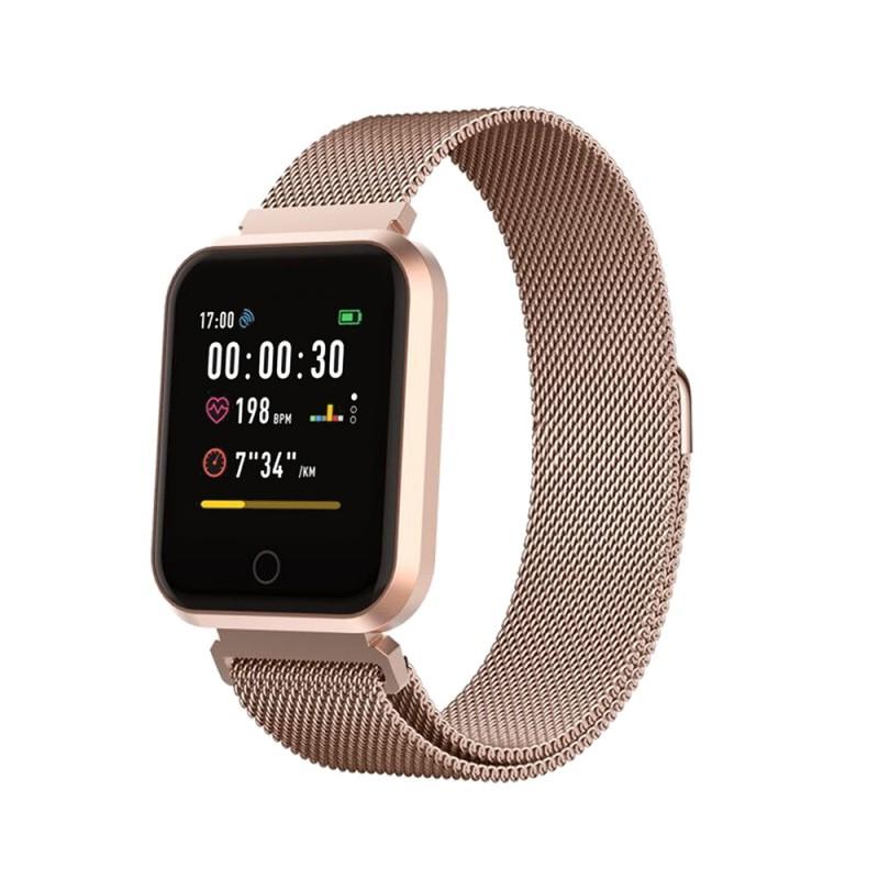 Ceas Smartwatch Forever ForeVigo, Bluetooth 4.2, 180 mAh, incarcare USB, Rose Gold 2021 shopu.ro