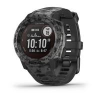 Ceas smartwatch Garmin Instinct Solar Camo Edition, 0.9 inch, GPS, Bluetooth, ANT+, Heart Rate Sensor, Timer, Waterproof, Android, iOS, Graphite Camo