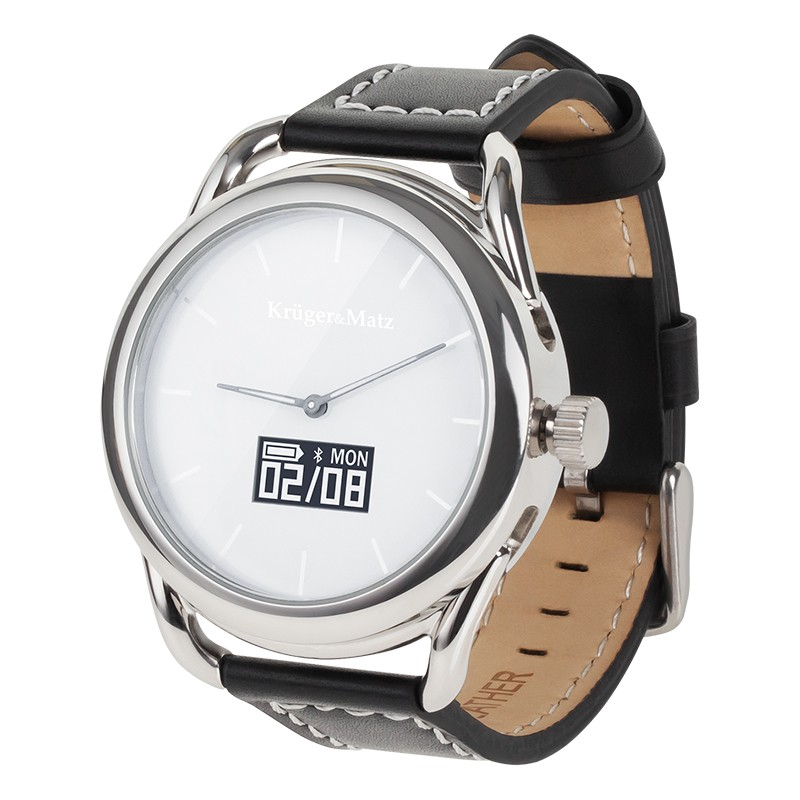 Smartwatch hibrid Kruger Matz, conectivitate bluetooth 4.0, senzor PixArt, Argintiu 2021 shopu.ro