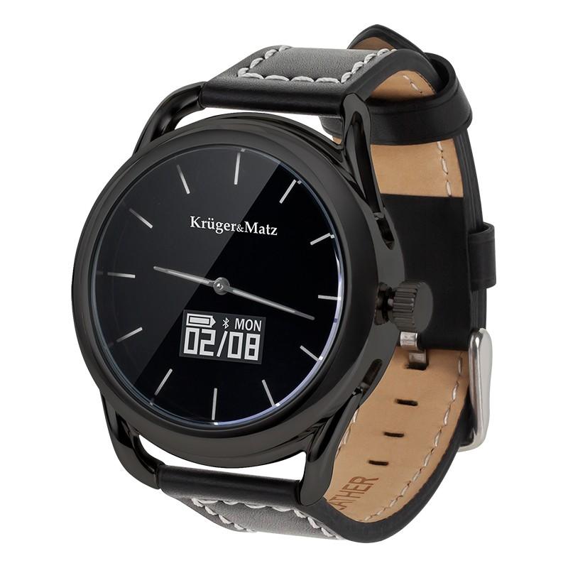 Smartwatch hibrid Kruger Matz, conectivitate bluetooth 4.0, senzor PixArt, Negru 2021 shopu.ro