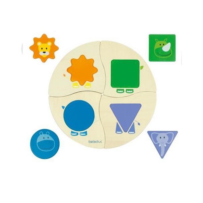 Sortator forme geometrice Funny Four Beleduc, 8 piese, Multicolor 2021 shopu.ro