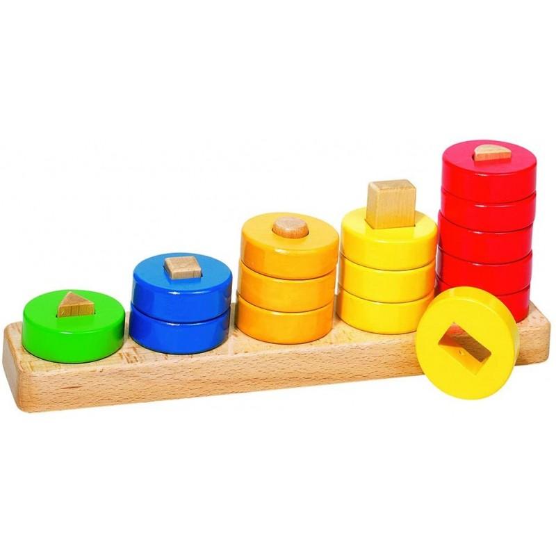 Joc de sortat Geometrii Goki, 30 x 6.4 x 11 cm, 15 piese, lemn, 1 an+, Multicolor