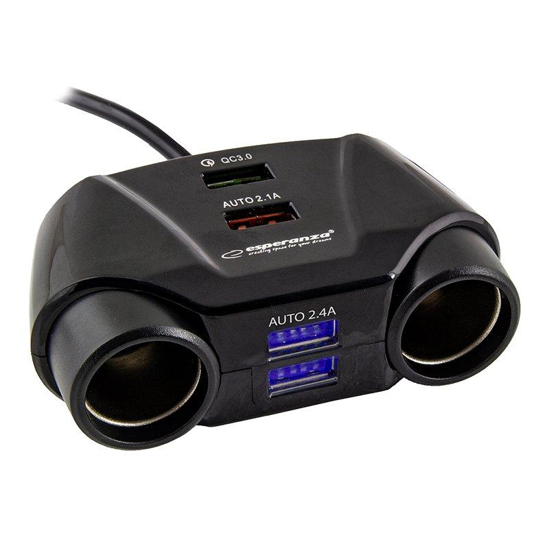 Priza auto, 4 x USB, 50 cm, port Quick Charge 2021 shopu.ro