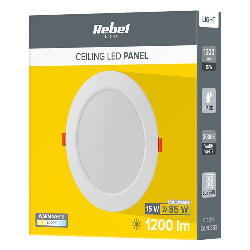 Spot LED incastrat Rebel, 15 W, 50 x LED, 175 mm, 3000 K, 1200 lm