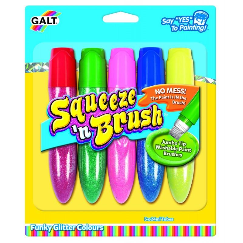 Set acuarele Squeeze'n Brush, 5 culori cu sclipici, 3 ani+ 2021 shopu.ro