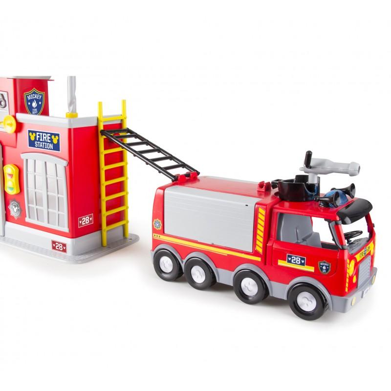 Statie de pompieri Mikey, 20 accesorii, efecte luminoase si sonore, 3 ani+