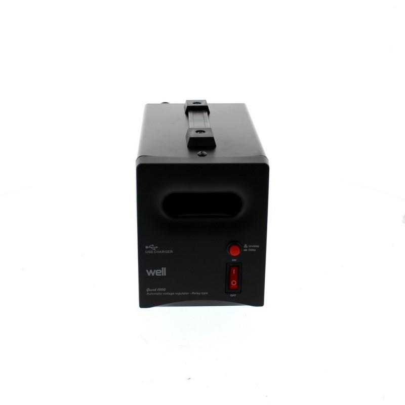 Stabilizator Well automat de tensiune cu releu, 1000VA, negru 2021 shopu.ro