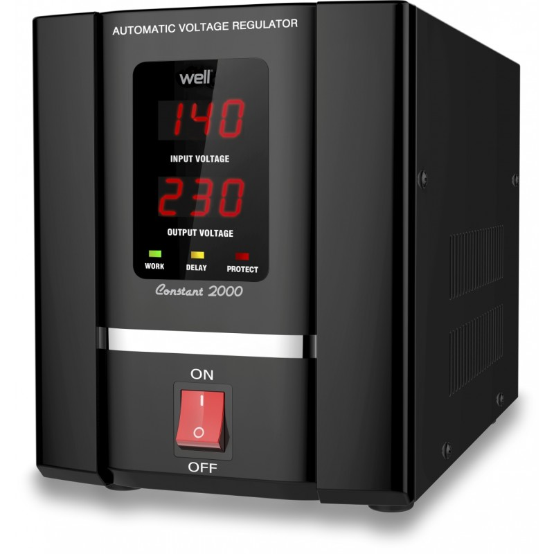 Stabilizator automat de tensiune Well cu servo motor, 2000VA, putere nominala 1200 W shopu.ro