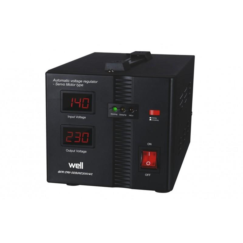 Stabilizator automat de tensiune Well, servo motor Secure, 2000 VA shopu.ro