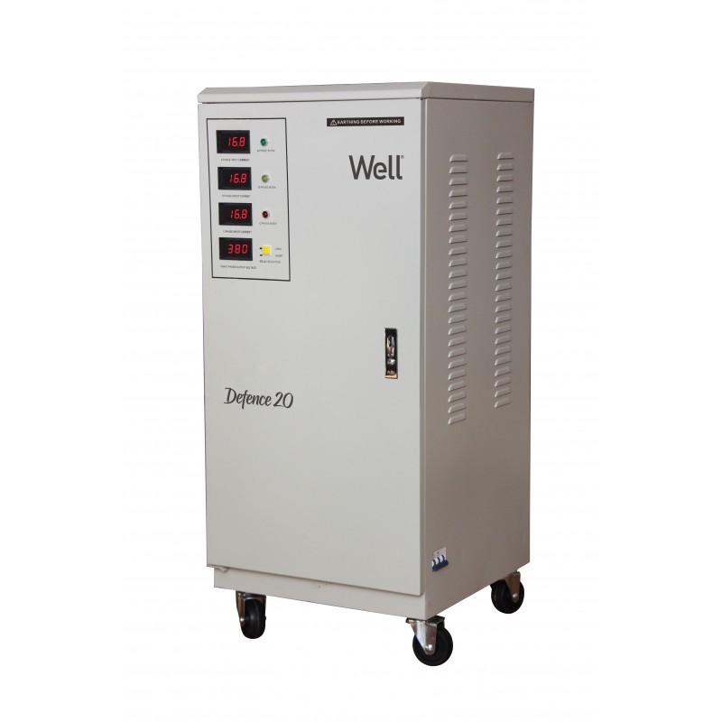 Stabilizator automat de tensiune trifazat Well, 20 KVA/16 KW, Bypass manual shopu.ro