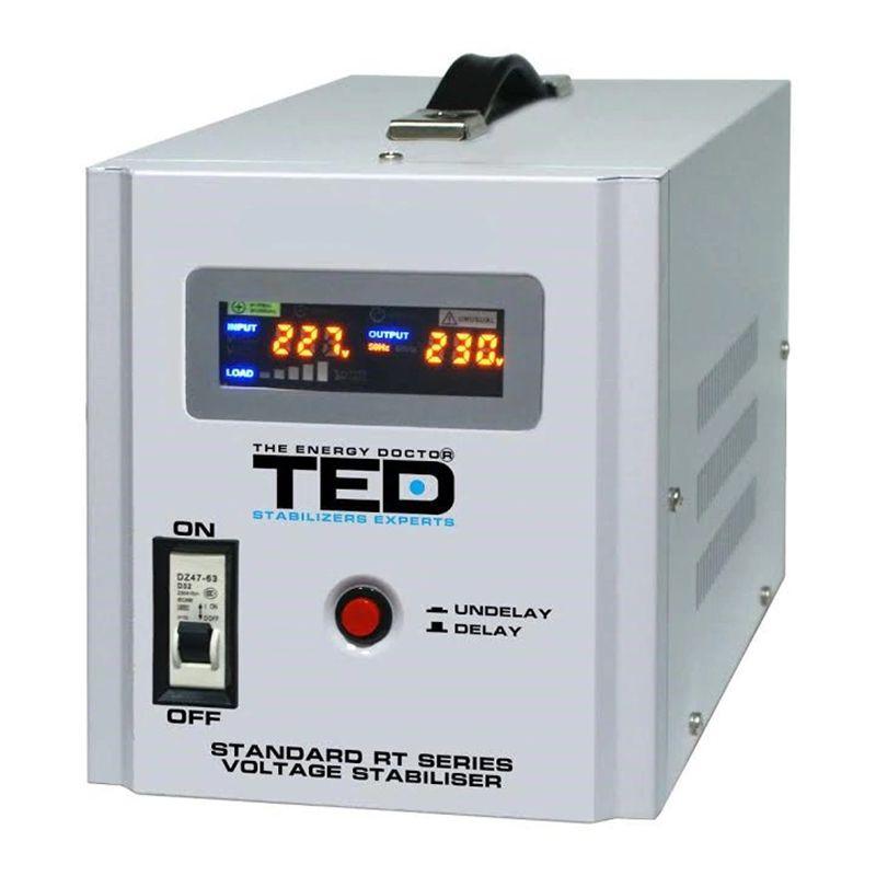 Stabilizator automat de tensiune TED, 3000 W, 5000 VA, alarma sonora, unda sinusoidala pura shopu.ro
