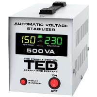 Stabilizator automat de tensiune, 300 W, 500 VA, alarma sonora, display digital