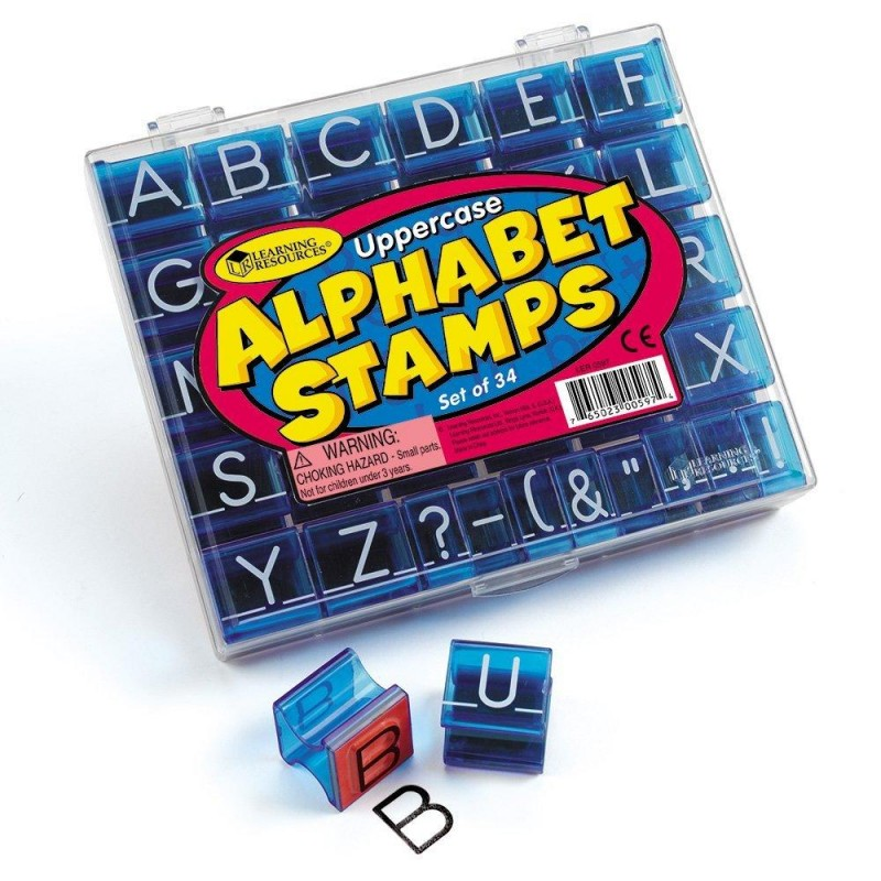 Stampile Alfabet, 26 de litere majuscule, 8 stampile cu semne de punctuatie 2021 shopu.ro