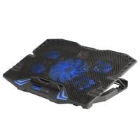 Cooler pentru notebook gaming NGS, 5 ventilatoare, ecran LCD, LED, Negru