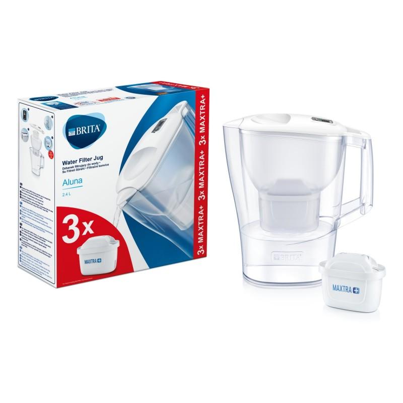 Starter pack Brita Aluna, 2.4 L, + 3 filtre Maxtra+, palnie plastic, indicator memo, Alb 2021 shopu.ro