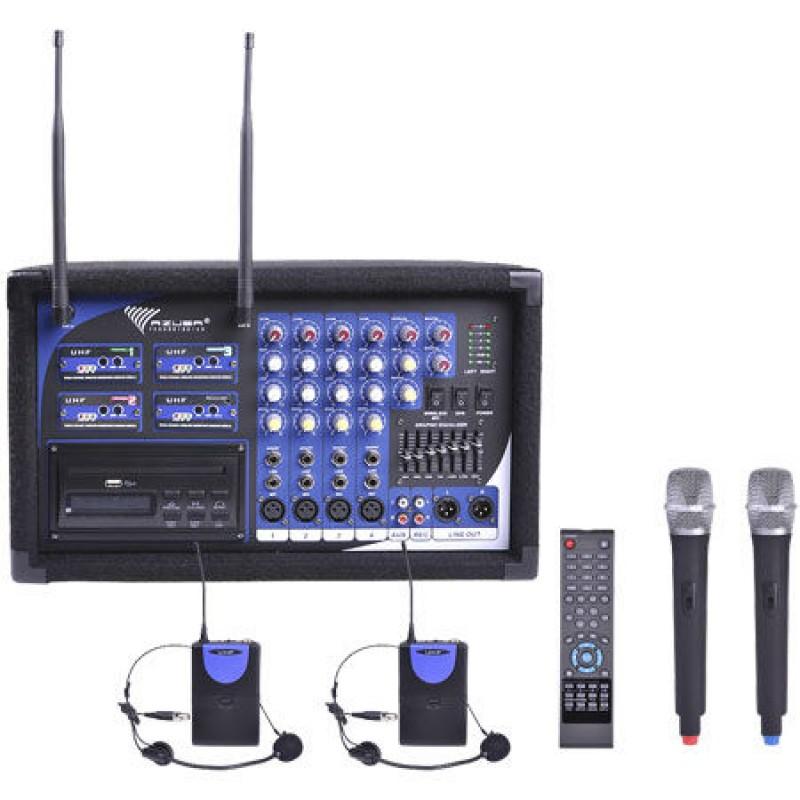 Statie 2 microfoane PA-180 UHF, LED, 2 lavaliere 2021 shopu.ro