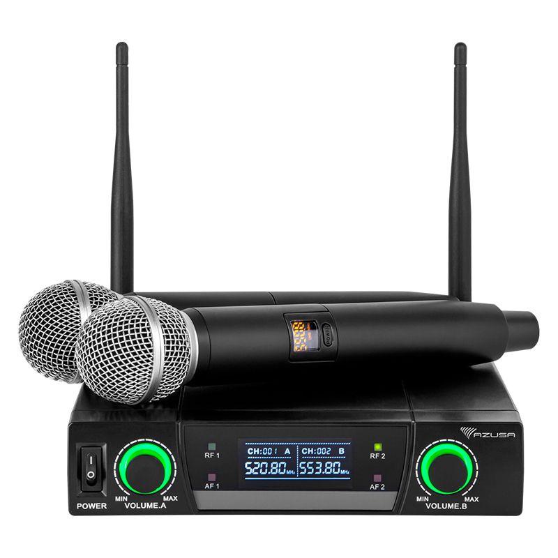 Statie 2 microfoane UHF Azusa, 5 W, 90 dB, modulare FM, 2 canale, 50 m, 2 x XLR, 1 x jack 6.3 mm 2021 shopu.ro