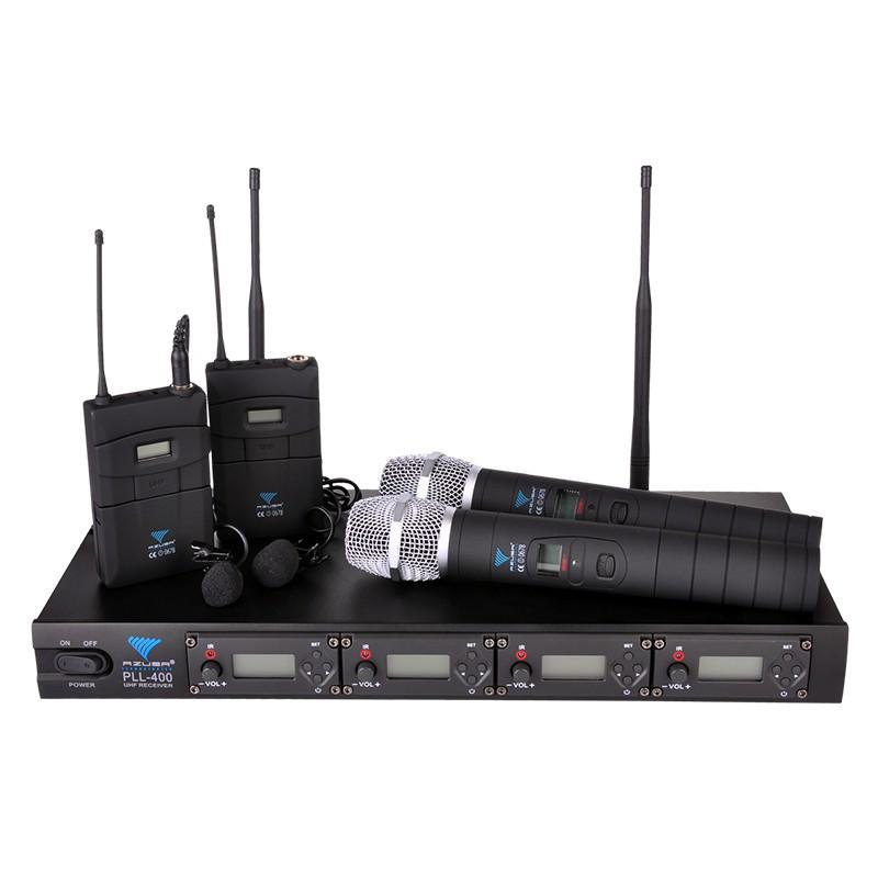 Statie 2 microfoane PLL400, 100 canale, LCD, 2 lavaliere 2021 shopu.ro