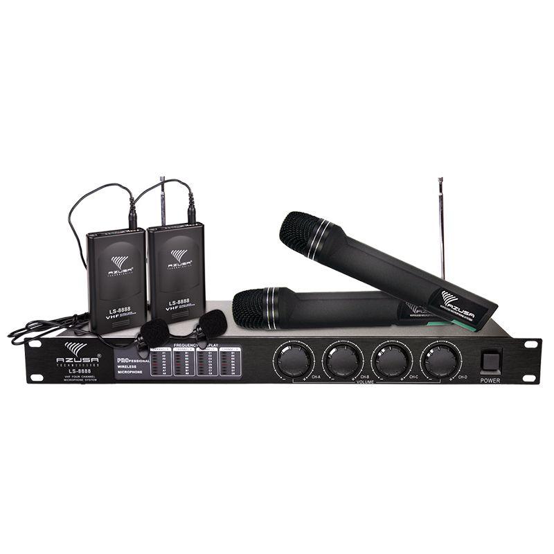 Statie cu 4 Microfoane Azusa LS888, 2 wireless, 2 lavaliera 2021 shopu.ro