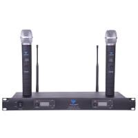Statie 2 microfoane UHF Azusa, 100 canale, iesire RF