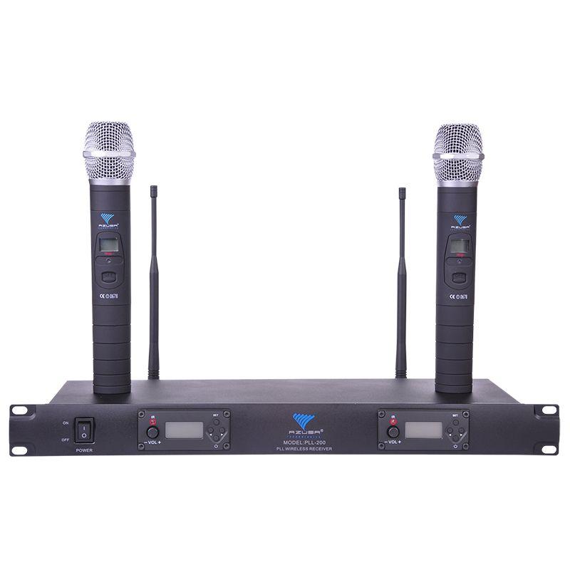 Statie 2 microfoane UHF Azusa, 100 canale, iesire RF 2021 shopu.ro