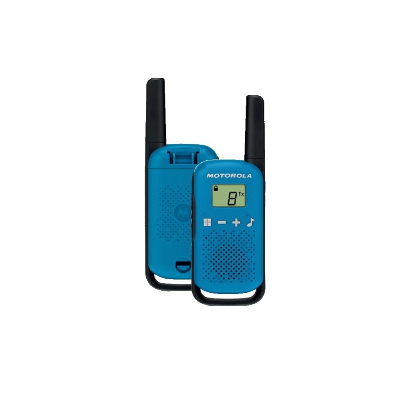 Statie radio PMR portabila Motorola Talkabout T42, 16 canale, 4 km, 3 x AAA, functie Roger Beep, Albastru