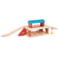 Statie supraterana din lemn, 5 piese, scari pentru pasageri, 17 x 16.3 x 10.5 cm