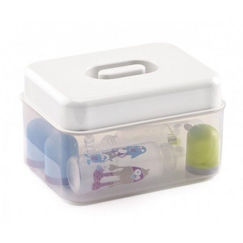 Sterilizator microunde Thermobaby, 24 x 19 x 15 cm, 4 biberoane, gratar plastic inclus, Alb 2021 shopu.ro