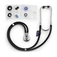 Stetoscop Little Doctor LD Special, 2 tuburi, tub 72 cm, inel cauciucat, Negru/Argintiu
